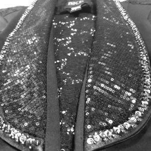 Ladies Bke M black sequin 3/4 Length sleeve blazer